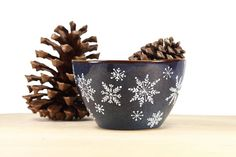 Hand Painted Stoneware bowl Navy Blue Winter Snowflakes Rustic ceramic  serving dish Oatmeal Dessert Icecream bowl Minimal Kitchen Decor on Etsy, $35.00