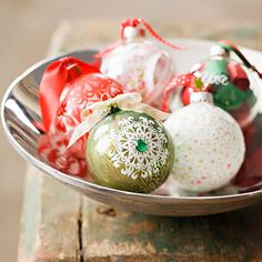 Easy Handmade Ornaments  One Christmas Ornament, Five Ways  Simple supplies and techniques combine to transform cheap crafts-store ball ornaments into stunning decorations.