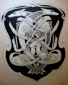 Celtic dog 2 by knotty-inks on DeviantArt Norse Tattoo, Celtic Tattoos, Ancient Tattoo, Celtic Tribal, Celtic Art, Viking Designs, Celtic Designs, Scandinavian Tattoo, Backpiece Tattoo