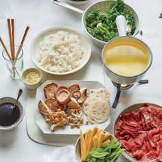Learn to make steak- and vegetable-filled Shabu-Shabu at home with perfectly seasoned kombu broth. Get the recipe from Food & Wine. Broth Fondue Recipes, Wine Recipes, Gourmet Recipes, Beef Recipes, Healthy Recipes, Hot Pot Recipes, Rib Eye Recipes, Asian Recipes, Ethnic Recipes
