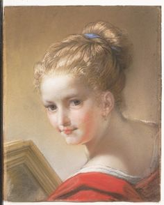 Study of a Girl in Red, Benedetto Luti (Italian, Florence 1666–1724 Rome), 1717  Medium: Pastel and chalk on blue laid paper, laid down on paste paper