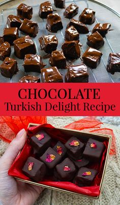 How to make Chocolate covered Turkish Delight - rich dark chocolate coating soft and aromatic rose candy
