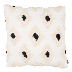Textured Diamond Cushion, White | Cushions - Accessories