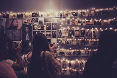use string lights to cloths pin hang photos