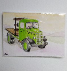 ACEO Art card Old Bedford Truck in watercolour and pen