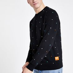 Shop our new Superdry black print sweatshirt at River Island today. Printed Sweatshirts, Hoodies, Superdry, Collar Shirts, Black Print, Style Guides, Printing On Fabric, Chef Jackets, River Island