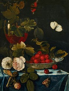 Harmen Loeding  Still Life with Roses and Chinese Bowl with Cherries  17th century