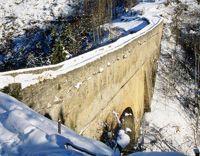 Pondel bridge in Cogne, Aosta Valley, Italy