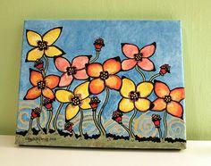 Whimsical Flowers Acrylic Painting Original Art