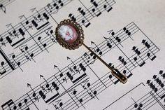 Antique Hat Pin Victorian Art Nouveau Brass Gold Vintage Stick Pins Cameo Rose