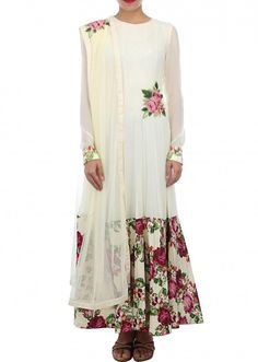 Cream anarkali suit embellished in print and resham embroidery only on Kalki