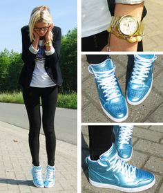 2011 ZARA BLAZER/GOI-GOI T-SHIRT MICHAEL KORS WATCH/ZARA LEGGINGS/NIKE AIR ROYALTY HIGH SNEAKERS