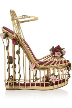 Dolce & Gabbana|Rose-embellished metallic leather cage sandals