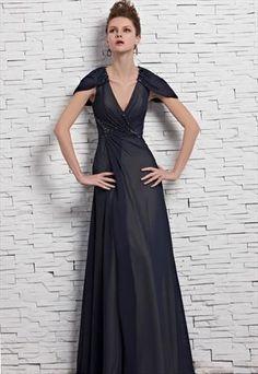 Short Sleeve V Neck Evening Dresses