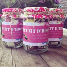Het zit d'rop!! Diy For Kids, Crafts For Kids, Diy Crafts, Teacher Appreciation Gifts, Teacher Gifts, Teacher Thank Yous, Josephine, Diy Presents, Jar Gifts