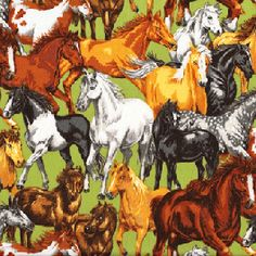 Horses on Green Quilt Fabric from Sarah J Home Decor