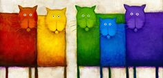 Rainbow Cats by Daniel Kessler Crazy Cat Lady, Crazy Cats, Gatos Cat, Cat Colors, Here Kitty Kitty, Whimsical Art, Rainbow Colors, Rainbow Art, I Love Cats