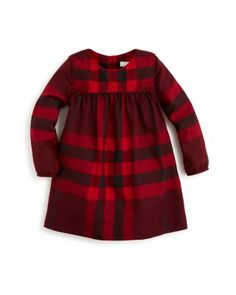 Burberry Girls' Thea Bow Trim Plaid Dress - Sizes 6-36 Months | Bloomingdale's