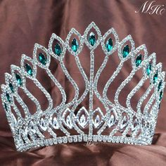 Fabulous Crowns Tiaras Wedding Bridal Emerald Rhinestones Pageant Party Costumes #Handmade #Tiara