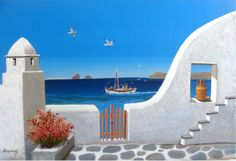 Small Canvas Paintings, Simple Acrylic Paintings, Diy Canvas Art, Acrylic Painting Canvas, Mural Painting, Watercolor Paintings, Greece Painting, Greece Drawing, Drawing Scenery