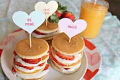 Krusteaz Strawberry Shortcake Mini Stack Recipe - Strawberry Shortcake Mini Stacks Made With Krusteaz Buttermilk Pancake Mix - Valentine Desserts, Valentines Breakfast, Valentines Day Treats, Holiday Treats, Holiday Recipes, Mini Pancakes, Buttermilk Pancakes, Pancake Day, Un Cake