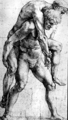 Raffaello Sanzio da Urbino, Aeneas and Anchises, study for the Burning of Burgo, c.1514