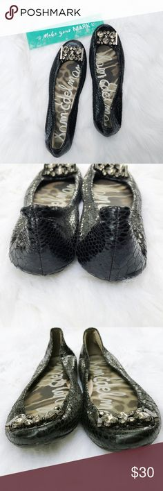 Sam Edelman Caper Ballet Flats Start your adventure in these glamorous Sam Edelman Caper flats. Snake print leather upper in a dressy flat style with jeweled embellishments at the vamp. Smooth lining with cushioned insole. Flat traction outsole with logo detail. Excellent used condition as shown! Women's size 9.5. Shoes Flats & Loafers