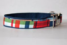 Coastal Plaid Dog Collar Leash or Step In Harness by TheFrenchDog