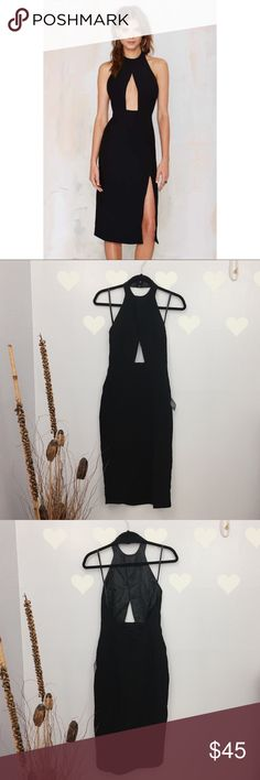 Nasty Gal Backless Halter High Slit Bodycon Dress Sizing chart is from Nasty Gal Size. Back zipper ❤️Length 41  ❤️Waist 12.5 ❤️Hips 18  Measurements are laid flat. It comes from smoke free home and pet friendly. All the clothings are kept in closed container, but sometimes the tiniest fur might slip.  🐼Stock 31WLB🐼 Nasty Gal Dresses Midi