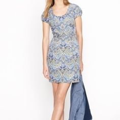 J. Crew Paisley Party dress This J Crew is gorgeous! It feature a zip up the back, fully lined, polished cotton silk blend, scoop neck, flattering waist with slant pocket for a tailored ladylike silhouette. Straight skirt that falls to the knee. J. Crew Dresses