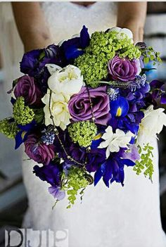 Ooooo Love the vibrant colors! purple and blue #Bridal #Bouquets #BridalBouquet  #Blue #Wedding #Flowers