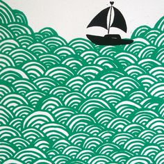 """""""Bigger Boat"""" is no longer available but I love the movement and the simplicity of this art piece sold at http://folksy.com/items/252897-Bigger-Boat-screen-print-in-turquoise-edition-of-30."""