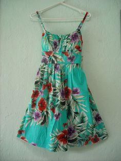 Roz & Ali DessBarn Aqua Blue Tropical Dress Sz 6 #RozAli #TeaDress #SummerBeach