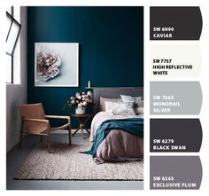 Paint colors from ColorSnap by Sherwin-Williams Pink Master Bedroom, Cozy Bedroom, Bedroom Decor, Bedroom Ideas, Teal Paint Colors, Bedroom Paint Colors, Teal And Grey, Warm Grey, Bedroom Styles