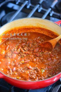Spicy Venison Chili — Yankitchen Venison Chili, Beef, Honey Garlic Pork Chops, Ground Venison, Hunts, Spoon, Wildlife, Cooking Recipes