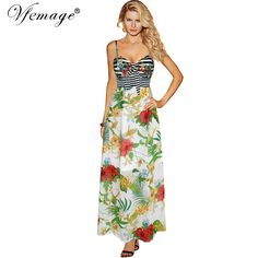 Vfemage Womens Summer 2017 Sexy Tropical Floral Flower Print Chiffon Striped Bow Party Evening Casual Beach Maxi Long Dress 6885 Print Chiffon, Party Dresses For Women, Floral Flowers, Fashion Outfits, Womens Fashion, Designing Women, Clothes For Women, Sexy, Casual