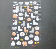 Alpaca and Sheep Bubble Sticker by AzraelWest on Etsy Bubble Stickers, Cute Stickers, Sheep, Bubbles, 3d, Unique Jewelry, Handmade Gifts, Etsy, Vintage