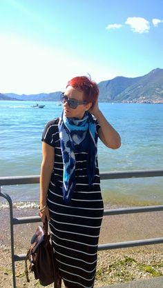 Striped Dress, Kenzo Scarf, Brown Backpack - The Girl at the Lake (Iseo) | Funky Jungle, mindful fashion and personal style blog