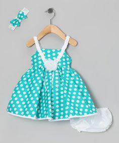 Loving this Green Polka Dot Dress Set - Infant on #zulily! #zulilyfinds