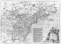 0118403 © Granger - Historical Picture ArchiveNORTH AMERICA MAP, c1754.   English map, mid-18th century, showing British and French possessions in North America at the time of the outbreak of the French and Indian War in 1754.
