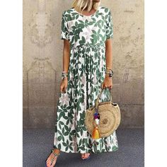 Elegant Floral Round Neckline Maxi A-line Dress : General Green Vacation Dresses Elegant Polyester Round Neckline Spring Maxi Summer A-line Dress Floral S M Short Sleeve L XL XXL Dress Women's Fashion Dresses, Casual Dresses, Short Dresses, Floryday Dresses, Elegant Dresses, Party Dresses, Half Sleeve Dresses, Knee Length Dresses, Womens Swing Dress