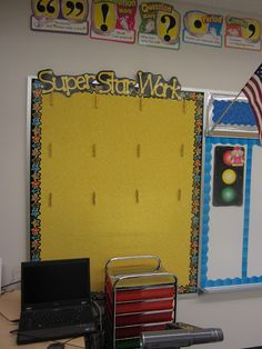 Thumb tacks glued to the back of clothespins to hang student work on a bulletin board, great idea - - -The Creative Chalkboard: Classroom Tour Pictures Galore!