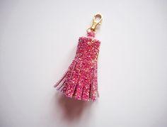 Pink & Rose Gold Glitter Tassel Keychain