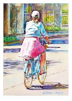Cycling in Charleston by Graham Berry Watercolor ~ x Painting People, Drawing People, Figure Painting, Figure Drawing, Watercolor Landscape Paintings, Watercolor Artists, Small Paintings, Indian Paintings, French Illustration