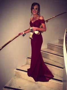 Off-shoulder Mermaid Long Burgundy Chiffon Prom Dress with Lace Top