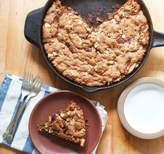 Dark chocolate and hazelnut skillet blondie