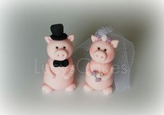 Pig bride and groom wedding edible cake topper by www.lucys-cakes.com, via…