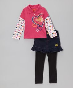 Take a look at this Magenta Heart Layered Top & Skirted Leggings - Infant & Toddler by Apple Bottoms on #zulily today!