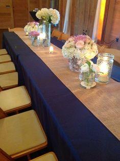 Navy tablecloth, burlap runner, add lace runner on top. Navy Burlap Wedding, Navy Wedding Flowers, Fall Wedding Colors, Burgundy Wedding, Rustic Wedding, White Flowers, Wedding Dresses, Burlap Shower, Burlap