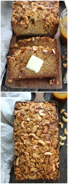 Salted Caramel Cashew Banana Bread Recipe on http://twopeasandtheirpod.com The BEST banana bread you will ever eat! You HAVE to try this recipe!